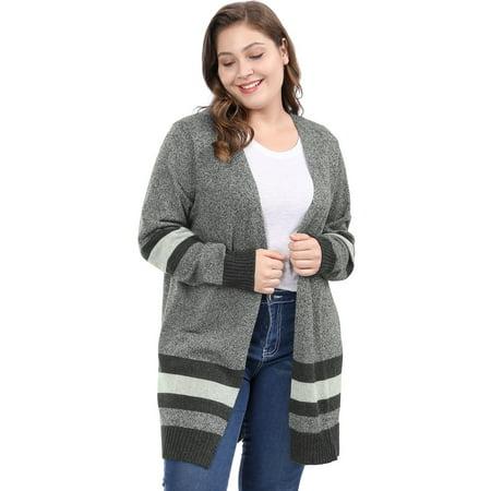 Plus Size 4x (Women's Plus Size Striped Open Front Sweater Cardigan Black)