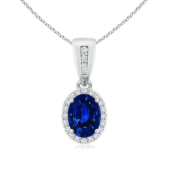 Diamond Halo Antique Oval Sapphire Pendant Necklace in Platinum (7x5mm Blue Sapphire) by Angara.com
