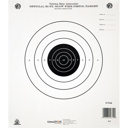 Champion Traps and Targets GB2 NRA Target, 50 Feet Pistol Slow Fire, 12pk - Target Halloween 50 Off