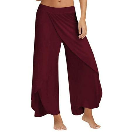 51462f37fae95 Womens Harem Palazzo Wide Leg Loose Chiffon Split Skirts Yoga Pants Long  Trousers - Walmart.com