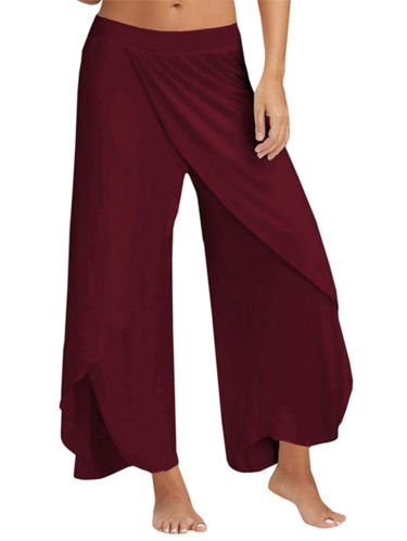 Womens Harem Palazzo Wide Leg Loose Chiffon Split Skirts Yoga Pants Long Trousers