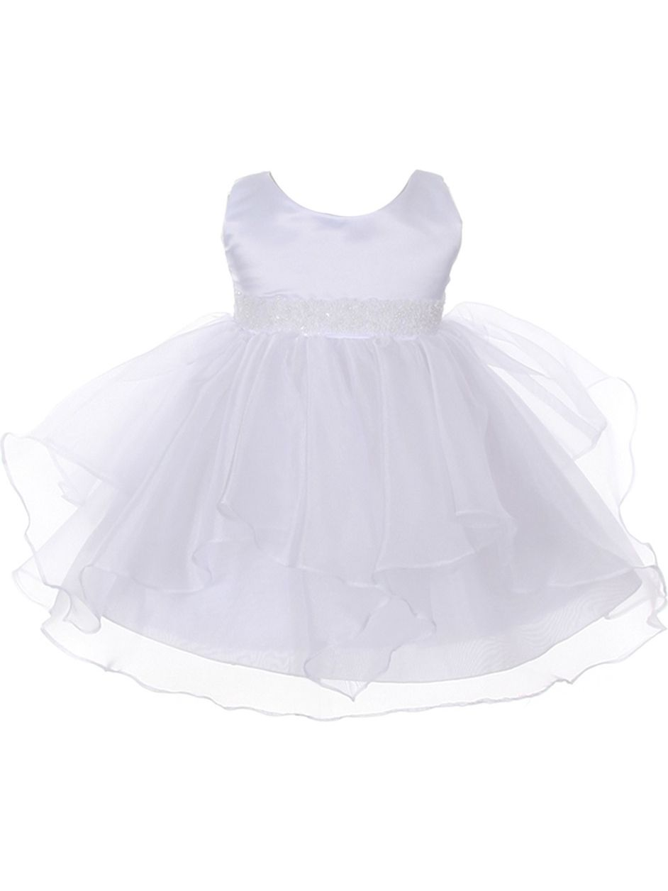 Chic Baby Girls White Organza Embellished Waist Flower Girl Dress