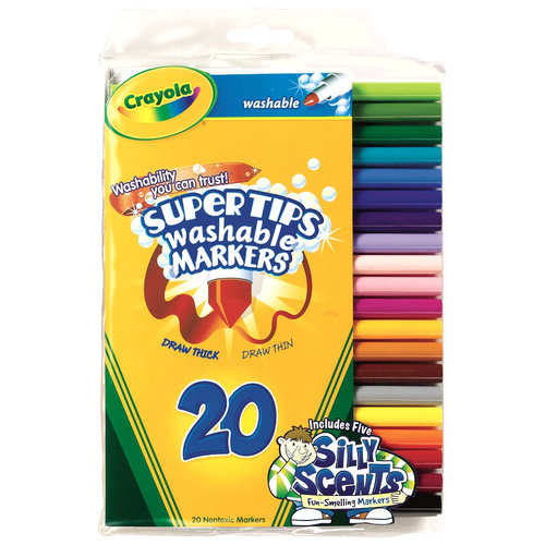 Crayola Super Tips Washable Markers with Silly Scents, 20pk