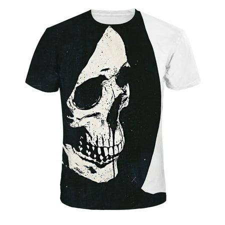 UKAP - Men's T-Shirt Creative Human Skeleton 3D Printed Short Sleeve Lovers  T-Shirts Plus Size S-3XL - Walmart com