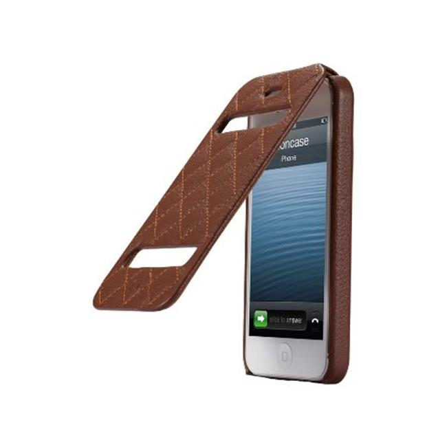 JisonCase Quilted Genuine Leather Flip Case for iPhone 5, Blue