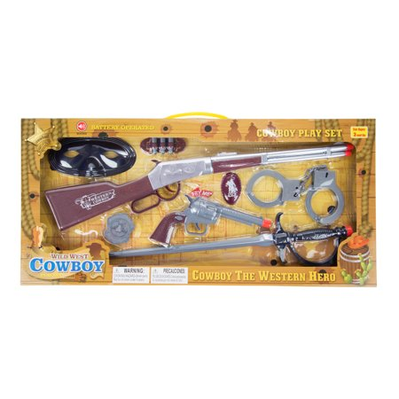 Masked Wild West Hero Cowboy Pretend Play Set with Toy Guns, Handcuffs, Swords, and Ammo
