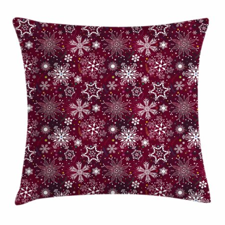 Snowflake Throw Pillow Cushion Cover, Colorful Festive Christmas Pattern with Snowflakes and Ornamental Stars Swirls, Decorative Square Accent Pillow Case, 24 X 24 Inches, Multicolor, by Ambesonne