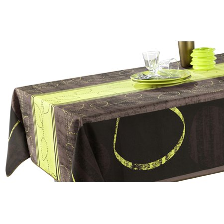 Tablecloth green black and brown modern stain resistant for 120 inch table seats how many