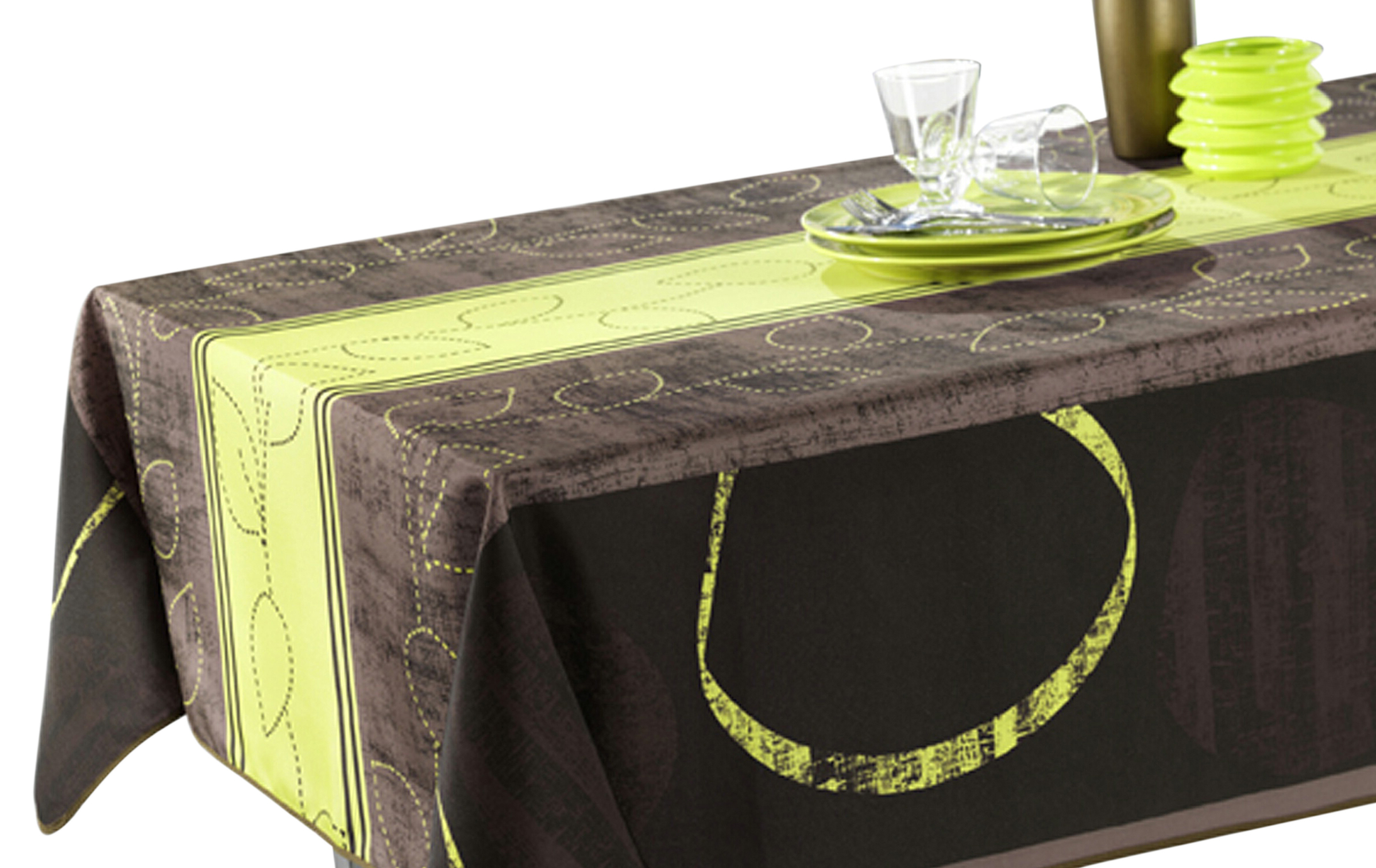 Perfect Tablecloth Green, Black And Brown Modern, Stain Resistant, Washable, Liquid  Spills Bead