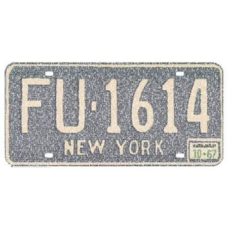 New York License Plate Cities Text Art Print Poster Mini Poster - 24x12