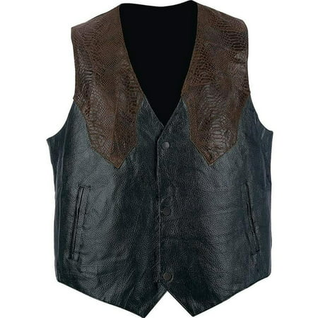 Biker Vest Pebble Grain Genuine Leather Faux Snakeskin Motorcycle Western Style (S)
