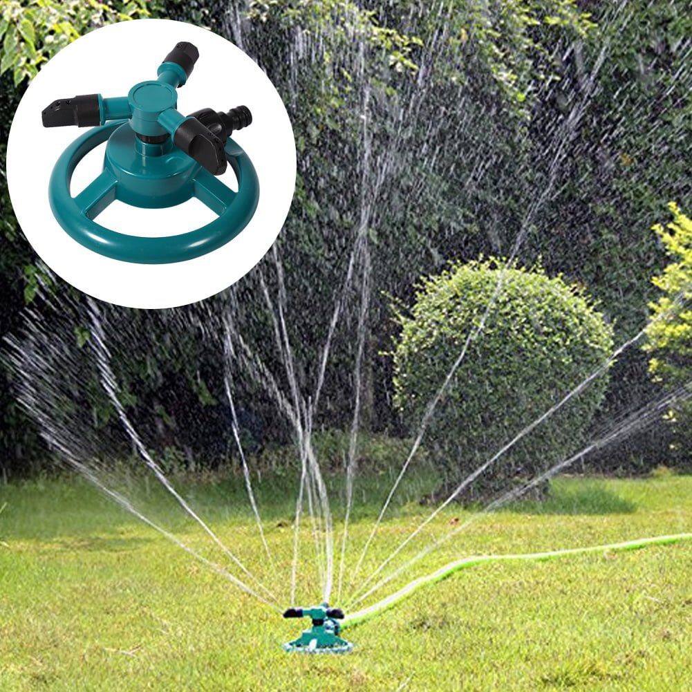 360 Fully Circle Rotating Watering Sprinkler Irrigation System 3 Nozzle Pipe Hose For... by