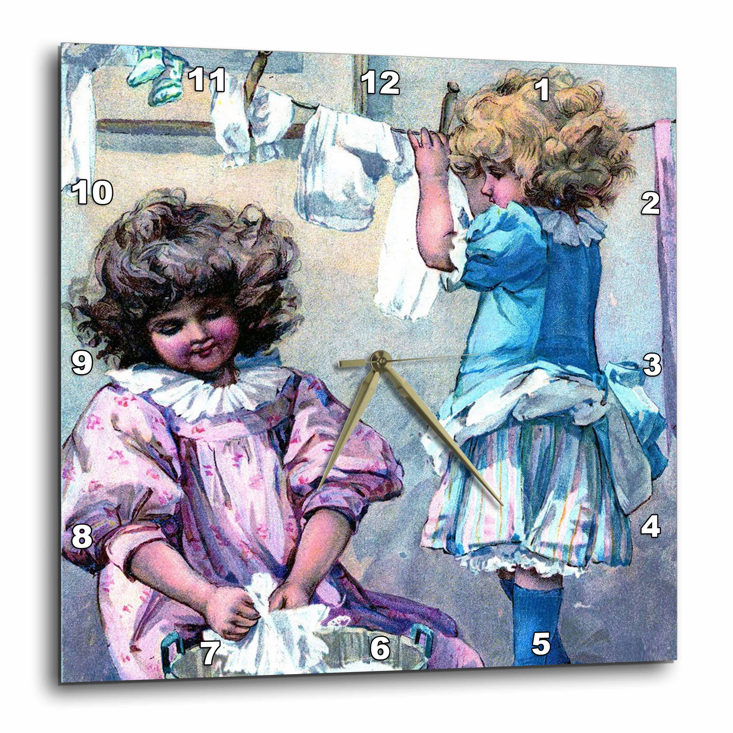 3dRose Little Girls On Laundry Day - Wall Clock, 10 by 10 ...