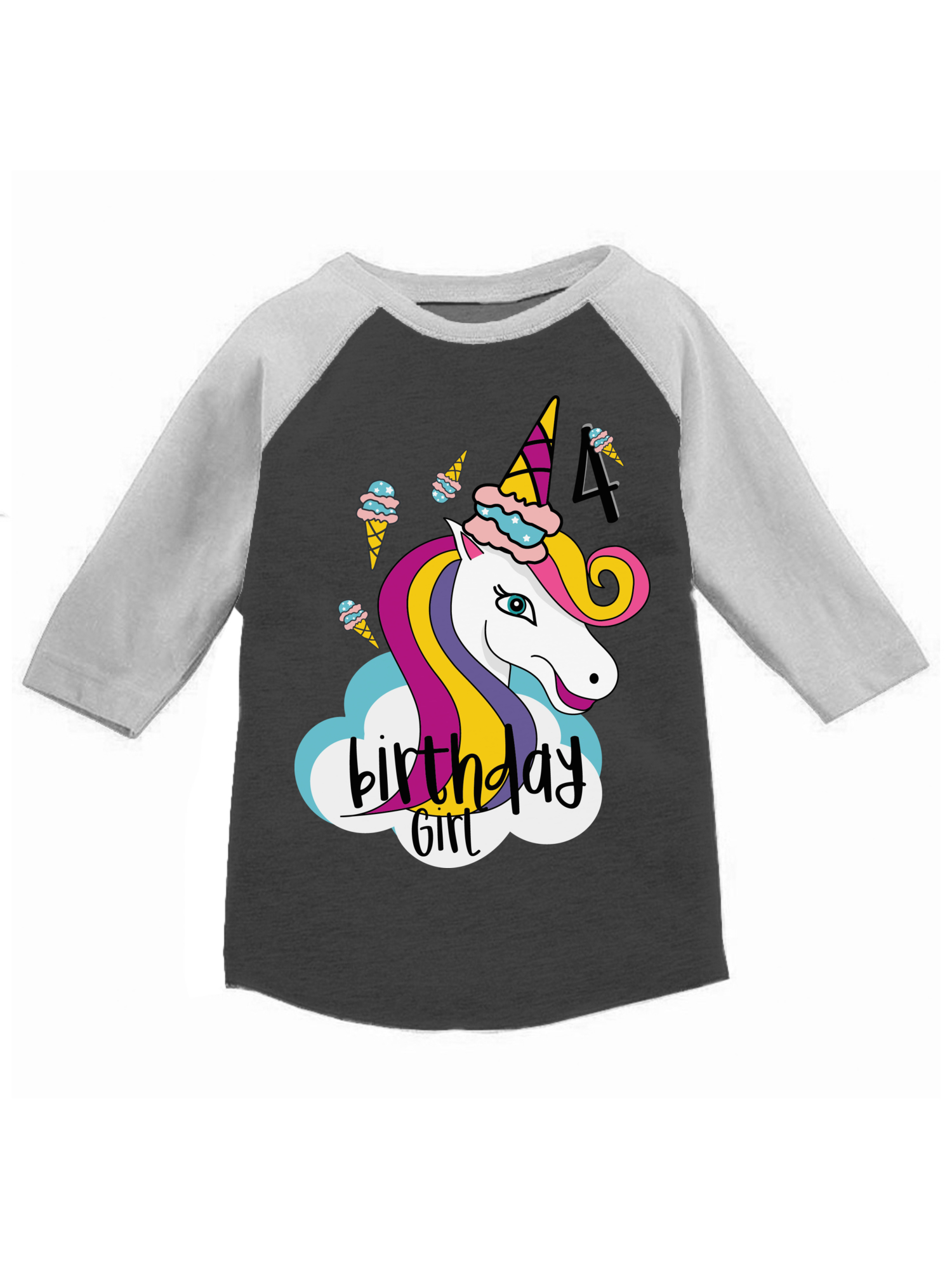 Awkward Styles Birthday Girl Toddler Raglan Unicorn Jersey Shirt 4th Birthday Unicorn Gifts for 4 Year Old Girl Cute Unicorn Icecream Outfit 4th Birthday Party for Girls Unicorn Birthday Party Shirt