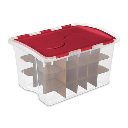 sterilite 48 quart holiday christmas 45 ornament storage box 19096606