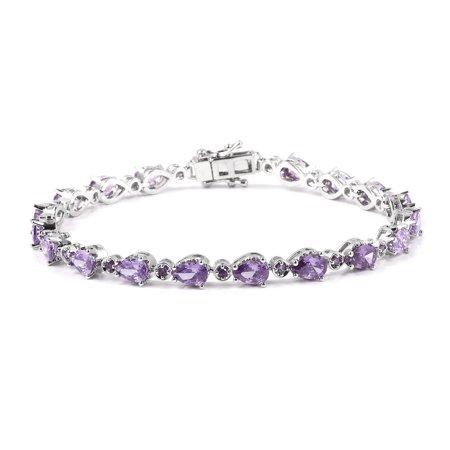 """Silvertone Pear Cubic Zircon Amethyst Tennis Bracelet for Women 7.25"""" Cttw 6.5"""