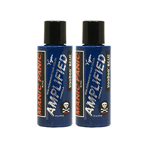 "Manic Panic Amplified Semi-Permanent Hair Color Cream - Voodoo Blue 4oz ""Pack of 2"""