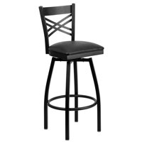 "Flash Furniture HERCULES Series Black ""X"" Back Swivel Metal Barstool, Vinyl Seat, Multiple Colors"