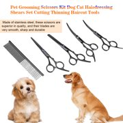 Best Dog Thinning Shears - WALFRONT 7Pcs Pet Grooming Scissors Kit Dog Cat Review