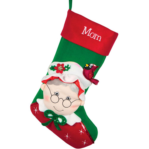 Personalized Sequins Character Christmas Stocking, Mrs. Clause