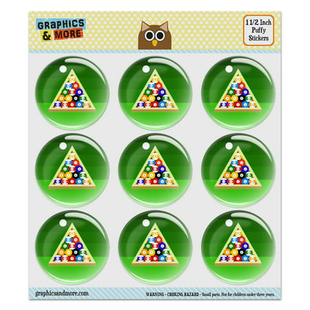 Billiard Balls and Triangle Pool Table Puffy Bubble Dome Scrapbooking Crafting Stickers - Set of 9 - 1.5