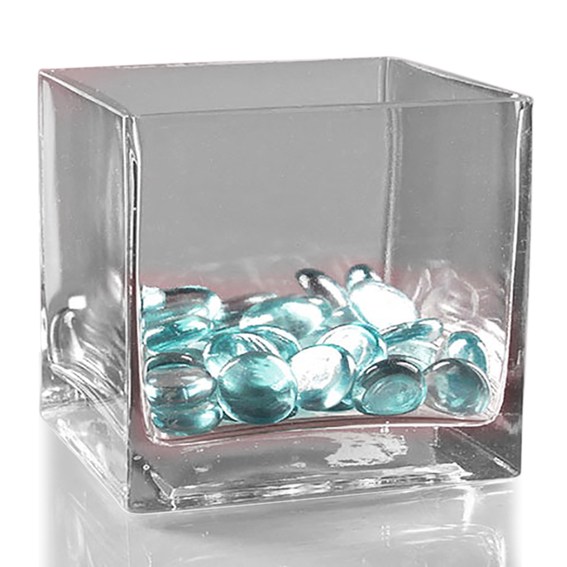 "4-1/4"" X 3 1/4"" X 4 Clear RecTurquoiseular Glass Containe by Paper Mart"