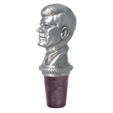 John F Kennedy Bottle Stopper | Cast in Solid Fine Pewter | Synthetic Cork Will Not Stain or Crack | Detailed Fine Pewter Medallion | 1 Piece Pewter Wine Stopper