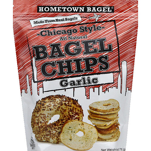 Hometown Bagel Chicago Style Garlic Bagel Chips, 6 oz, (Pack of 12)
