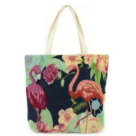 Multi Floral Flamingo Large Canvas Shoulder Tote Bag Purse](Flamingo Tote Bag)