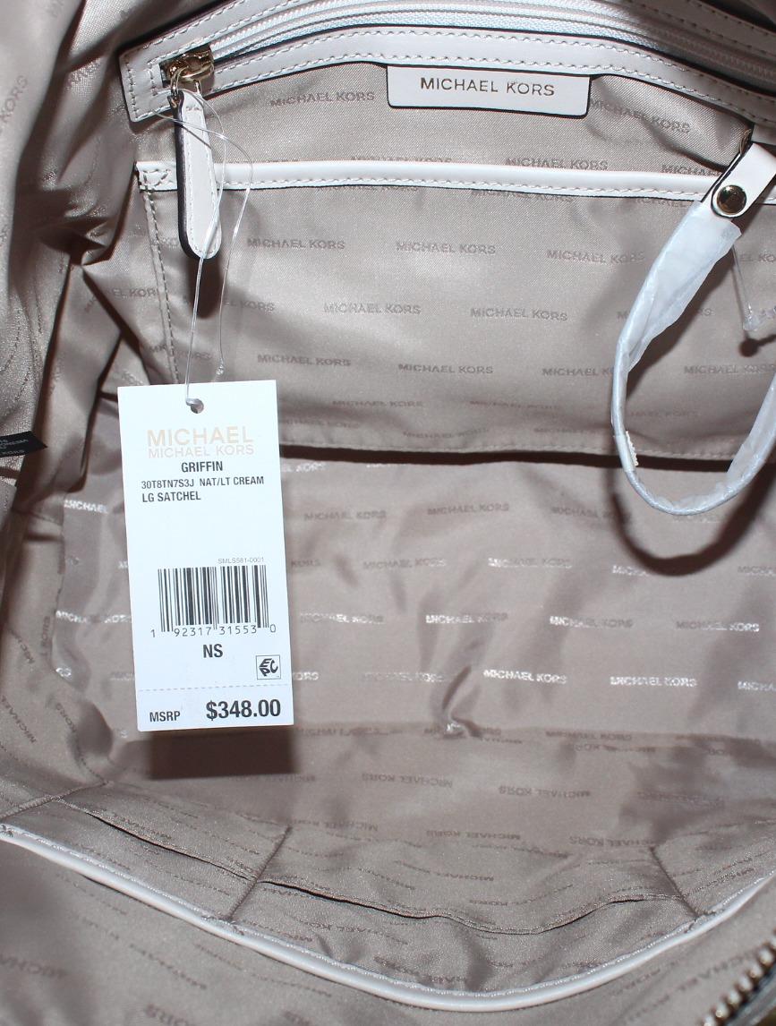 cd3cdad3cec100 Michael Kors - Michael Kors Griffin Large Jacquard Satchel- Nat/ Light  Cream - Walmart.com