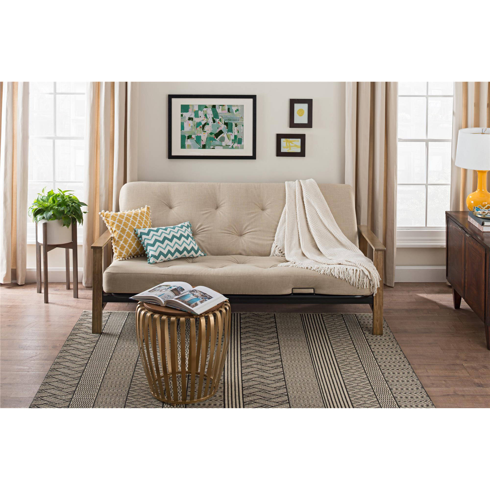 "DHP Bergen Wood Arm Futon with 6"" Coil Mattress, Tan Linen by Dorel Home Products"