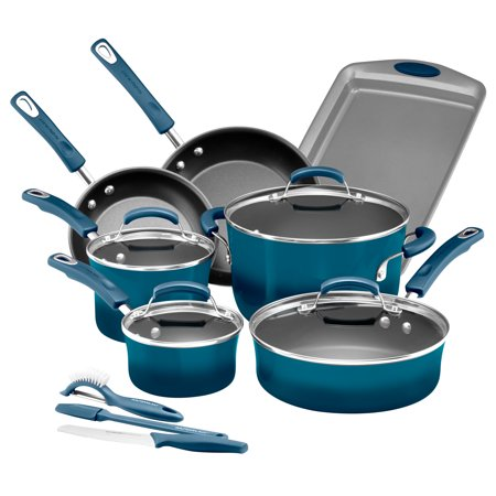 Rachael Ray 14-Piece Classic Brights Hard Enamel Nonstick Pots and Pans Set/Cookware Set, Marine Blue