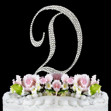 Yacanna Crystal Covered Monogram Cake Toppers Silver Cake Initial D - Crystal Letter Cake Toppers