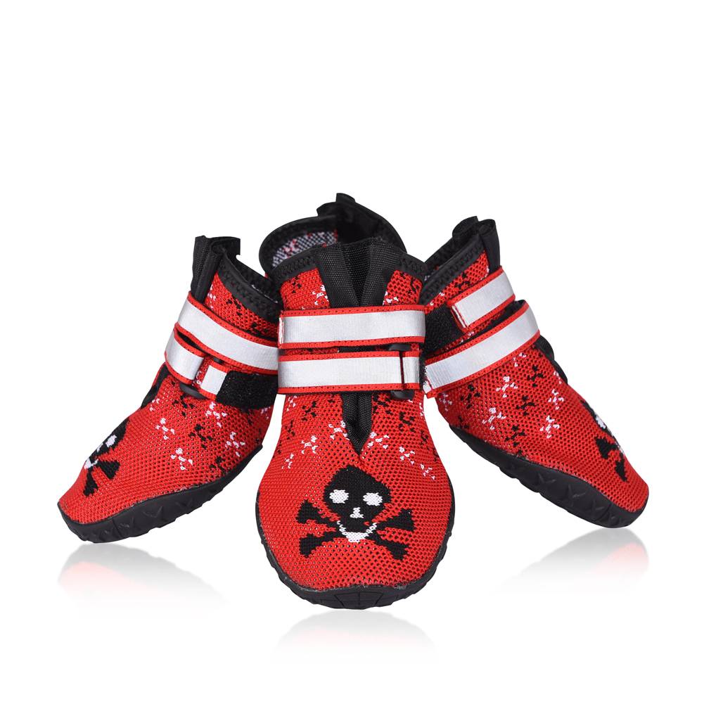 Dog Shoes-Pet Dog Boots Paw Protector Dog Boots Dog Shoes with Reflective Straps & Anti-Slip Sole, Red