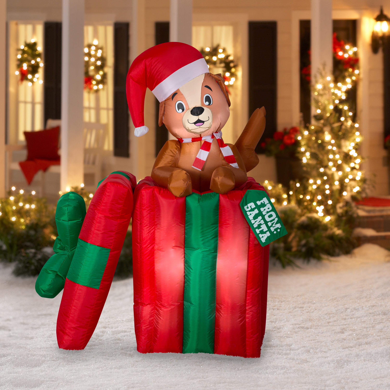 Holiday Time Inflatable Pop Up Puppy Present 5 Walmart Com Walmart Com