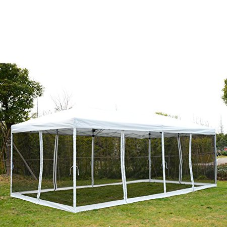 Outsunny 10 X 20 Pop Up Canopy Shelter Party Tent With Mesh Walls
