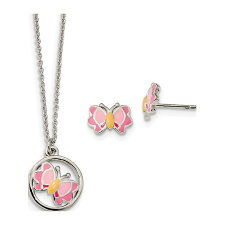 925 Sterling Silver Polished Enameled Butterfly & Necklace Set (14mm) Earrings - image 1 de 1