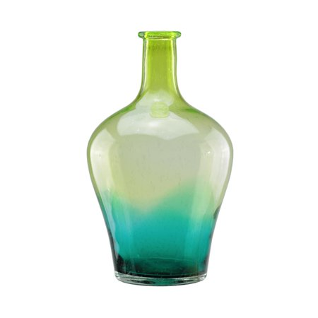 15 5 chartreuse green and teal blue ombre hand blown for Jardin glass vases 7 in
