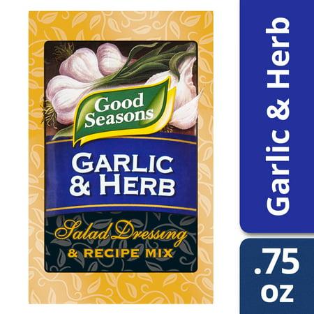 (4 Pack) Good Seasons Garlic & Herb Salad Dressing & Recipe Mix, 0.75 Oz Envelope