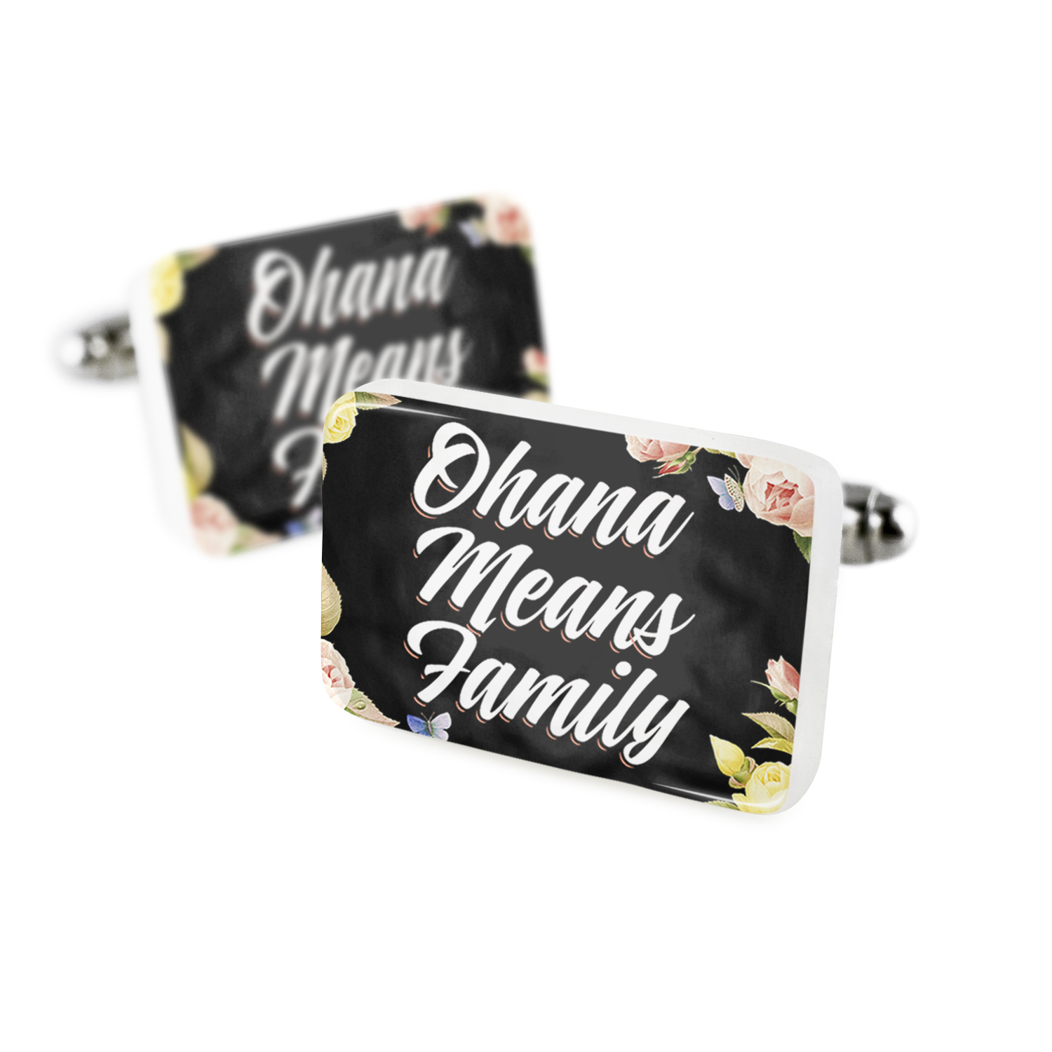 Cufflinks Floral Border Ohana Means Family Porcelain Ceramic NEONBLOND by NEONBLOND