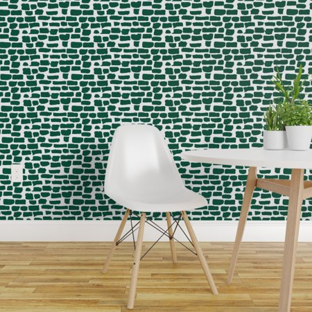 Removable Water Activated Wallpaper Green Paint Daubs Evergreen Emeral