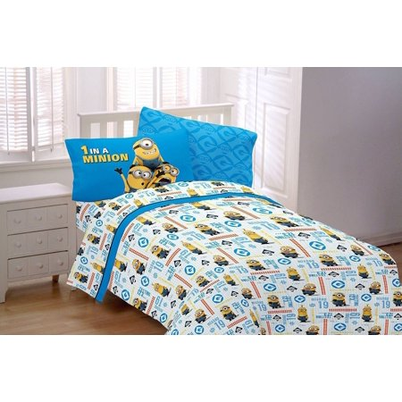 Minion Sheet Set (Despicable Me One in a Minion 4 Piece Full Sheet Set, Minions Bed)