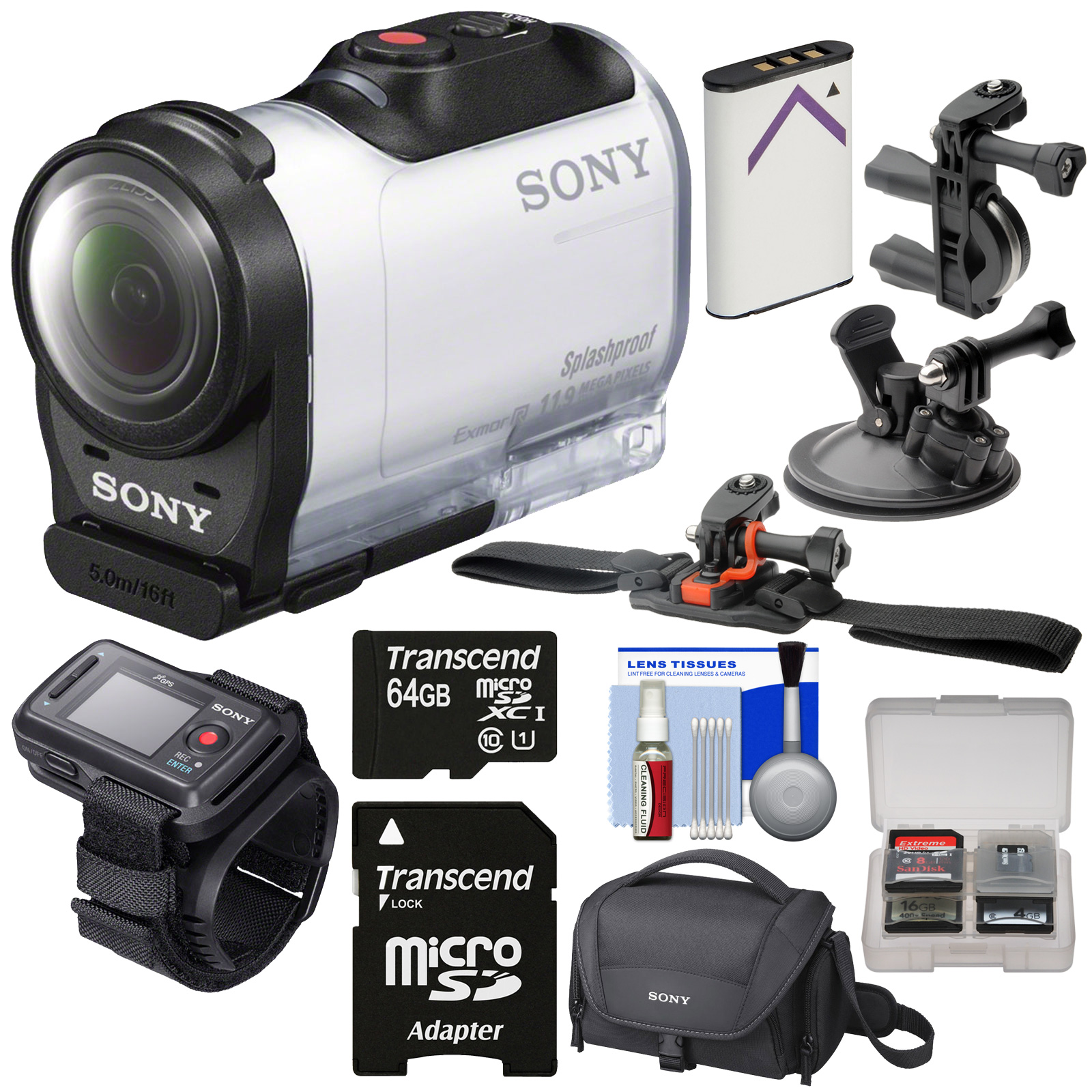 Sony Action Cam HDR-AZ1 Mini HD Video Camera Camcorder & Live View Remote with 64GB Card   Battery   Suction Cup, Handlebar Bike & Vented Helmet Mounts   Case   Kit