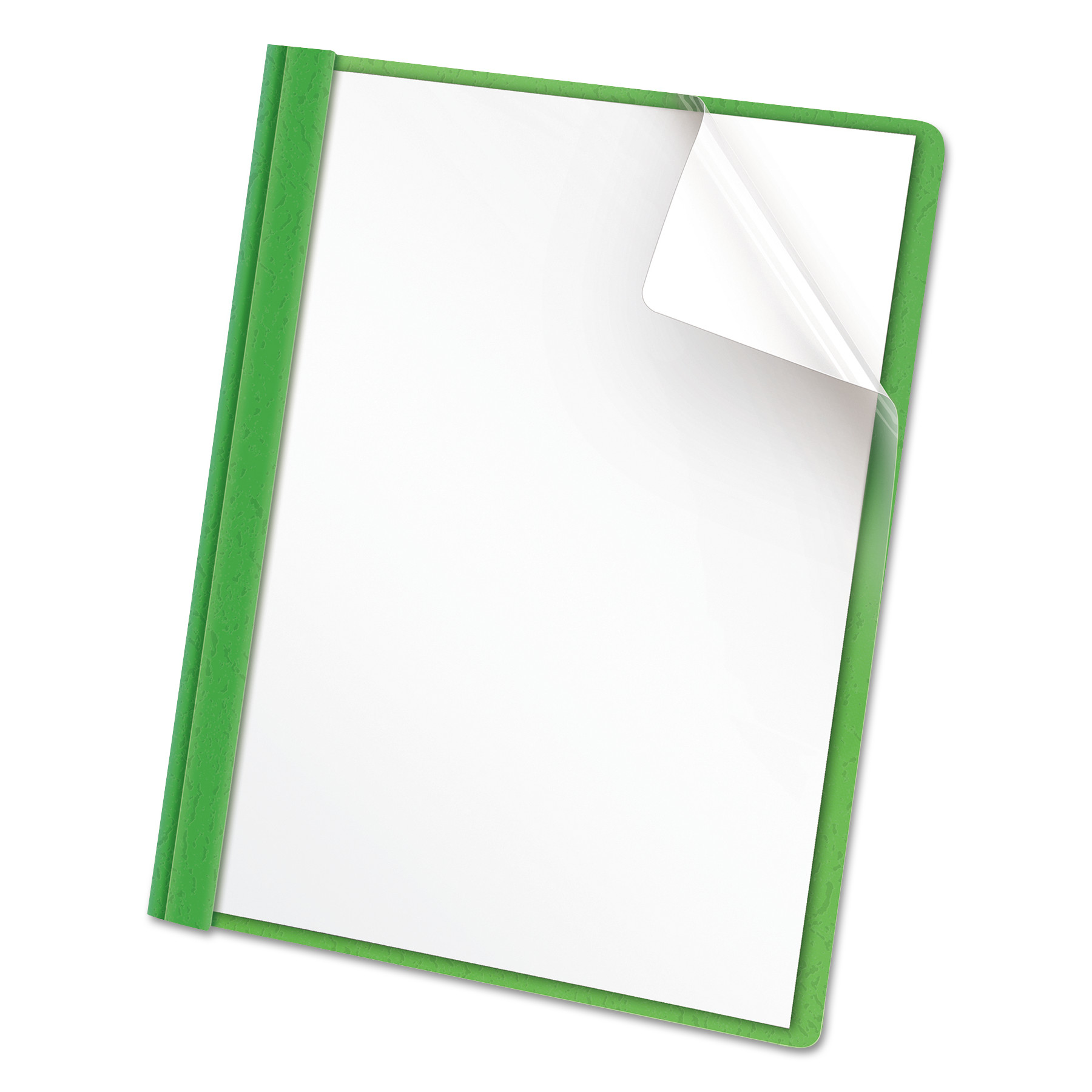 Universal Clear Front Report Cover, Tang Fasteners, Letter Size, Green, 25 Box -UNV57124 by Universal Office Products