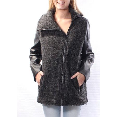BASS Womens Black Faux Leather Speckle Peacoat Coat  Size: S