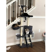 5 Levels Cat Tower Tree House Kitty Scratcher Play House Furniture Stain-Resistant Condo 5 Tiers with Toys