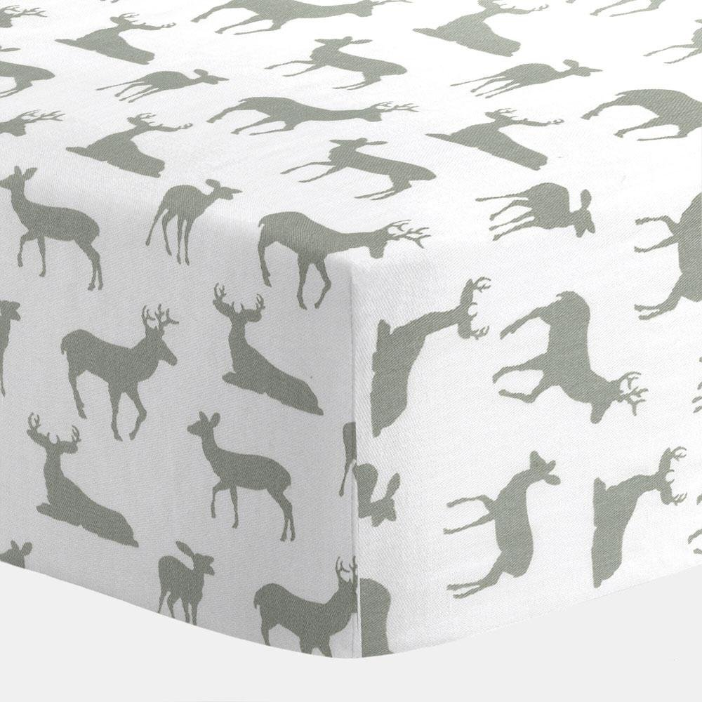 Carousel White and Gray Deer Crib Sheet