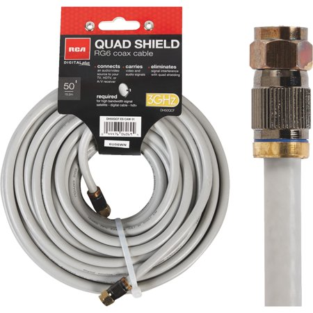 RG6 Coaxial Cable, 18 AWG Gray Quad Shield, - 500 Rg6 Quad Shielded Cable