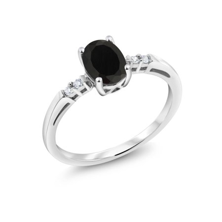 14K White Gold 0.83 Ct Oval Black Onyx Diamond Accent Solitaire Engagement Ring