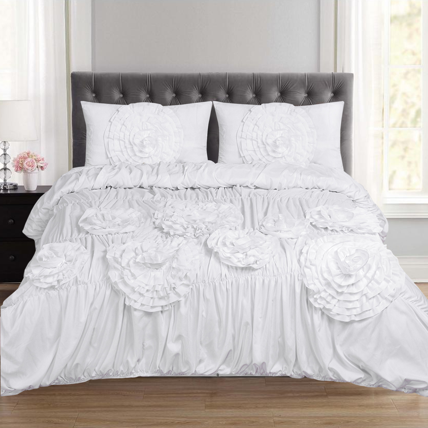 Scarlett Ruched Fancy Floral 3 Piece Duvet and Pillow Sham Set
